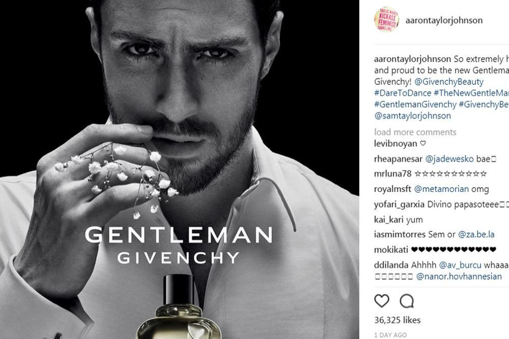 Aaron Taylor Johnson in Gentleman Givenchy campaign (c) Instagram