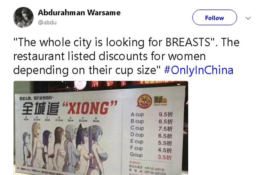 Big boobs get bigger discount at Chinese restaurant