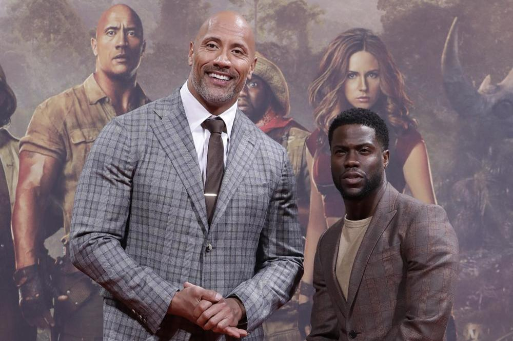 Dwayne Johnson and Kevin Hart at the Jumanji premiere