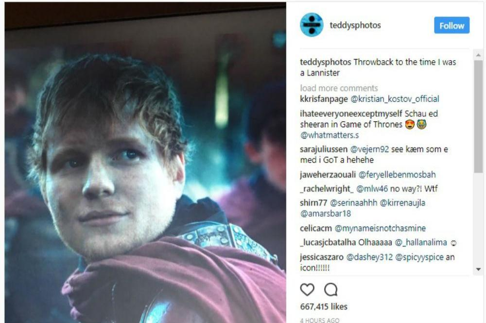 Ed Sheeran on Game of Thrones (c) Instagram