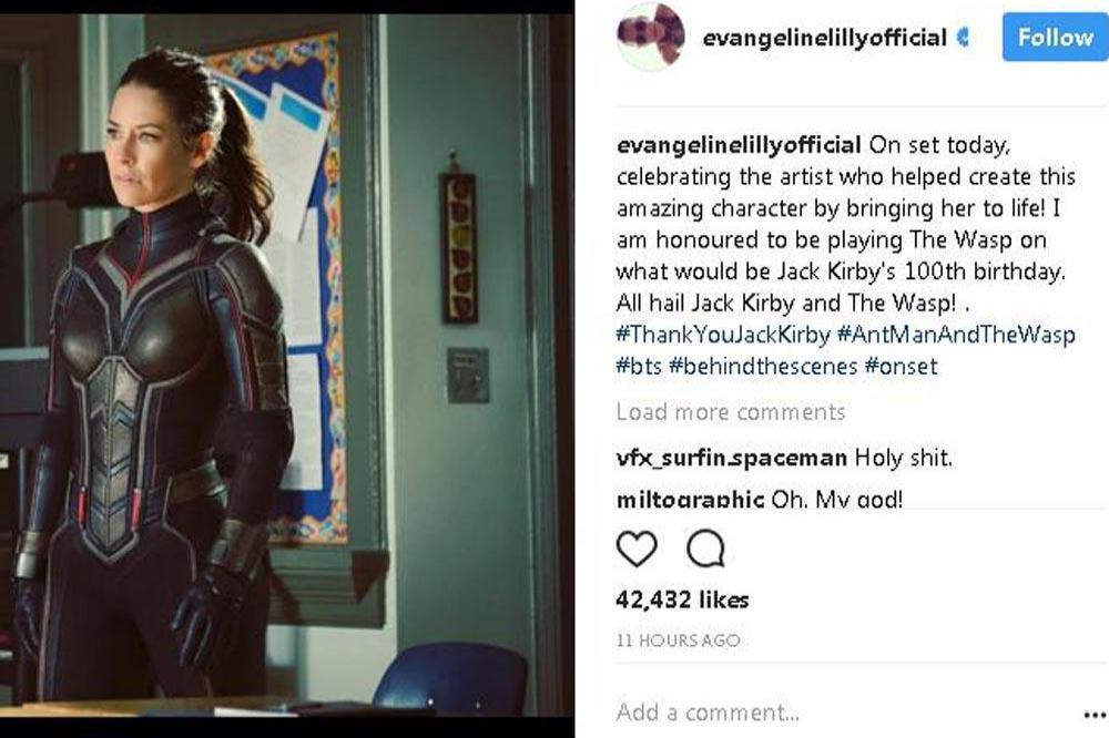 Evangeline Lilly Unveils Wasp Costume
