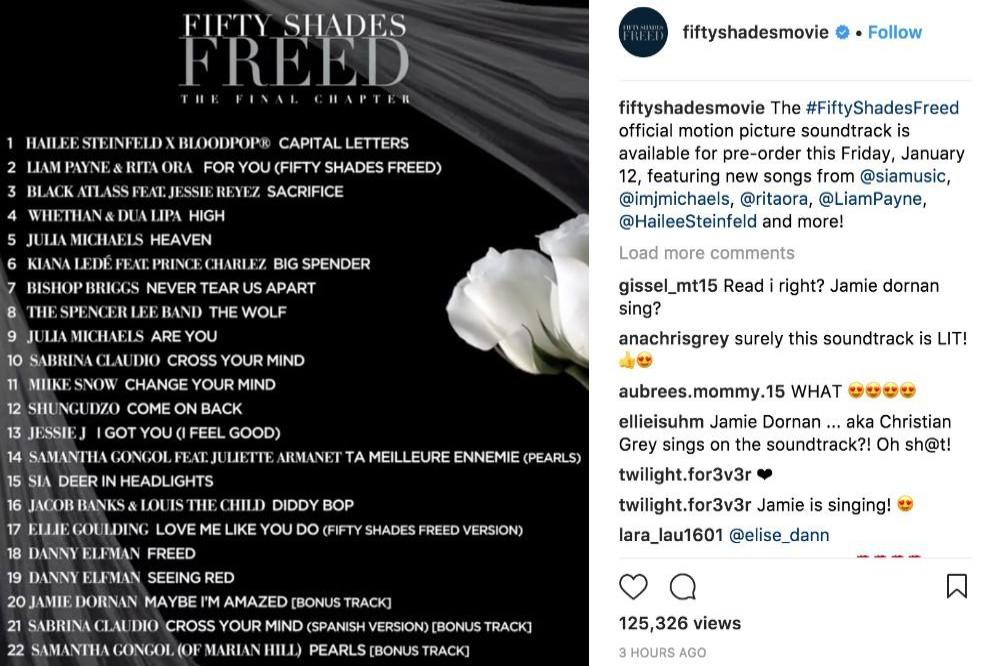 Fifty Shades Freed tracklisting via Instagram (c)
