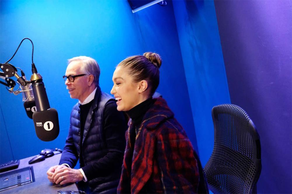 Gigi Hadid and Tommy Hilfiger on 'The Radio 1 Breakfast Show with Nick Grimshaw'