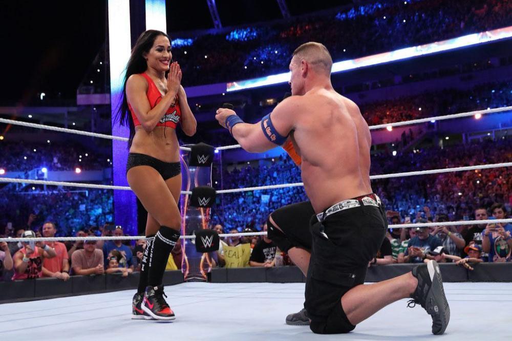 Nikki Bella and John Cena during WrestleMania 33