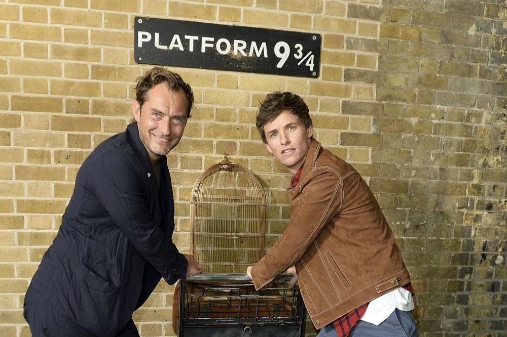 Jude Law and Eddie Redmayne at King's Cross