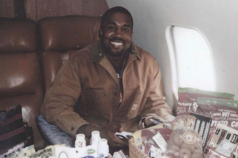 Kanye West with his Japanese snacks (c) Instagram