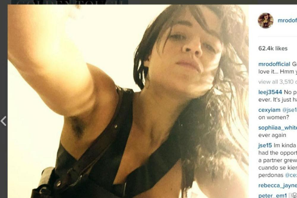 Michelle Rodriguez Exposes Her Armpit Hair