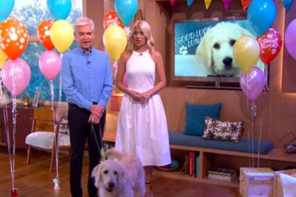 Phillip Schofield and Holly Willoughby with Luna