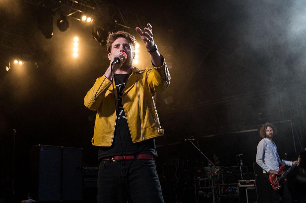 Ricky Wilson of the Kaiser Chiefs on stage at Cornbury Festival