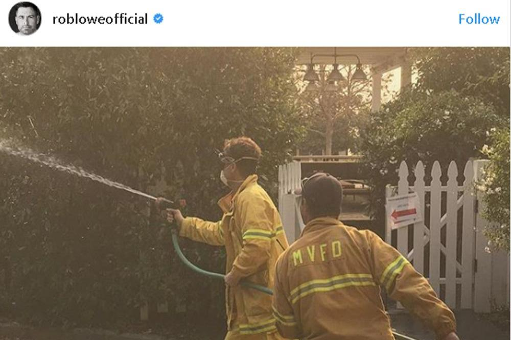 Rob Lowe hoses down Santa Barbara home (c) Instagram