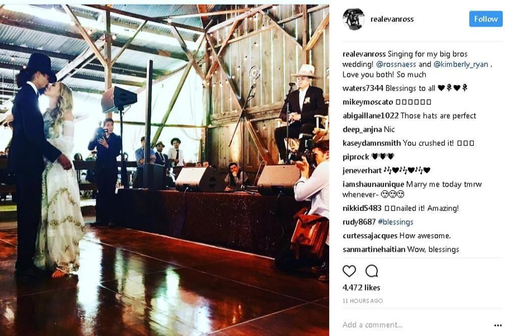 Ross Naess wedding on Evan Ross (c) Instagram