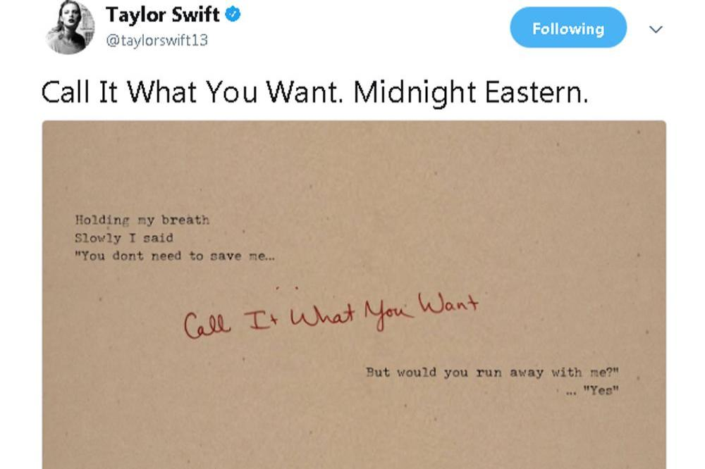 Taylor Swift Call It What You Want (c) Twitter