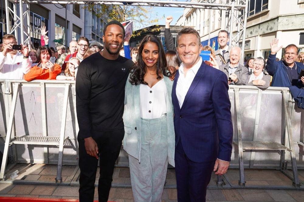 Tosin Cole, Mandip Gill and Bradley Walsh