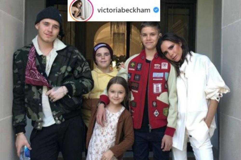 Victoria Beckham with children Brooklyn, Cruz, Harper and Romeo