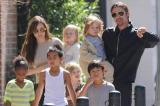 Angelina Jolie and Brad Pitt with their six children