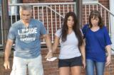 Deena Cortese leaving the police station with her parents