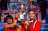 Louis Smith and Flavia Cacace with the Glitterball Trophy