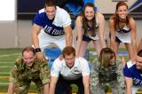 Prince Harry takes part in cheerleading pyramid