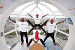 Flawless at the UK launch of National Geographic Kids' Let's Jump! Guinness World Record campaign at the London Eye
