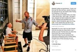 Dwayne Johnson meets with boy who saved brother's life