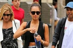 Jessica Alba keeps fit running after her kids