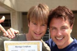 John Barrowman and Scott Gill with their marriage certificate