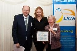 Lily Cole receiving the LATA Media Awards