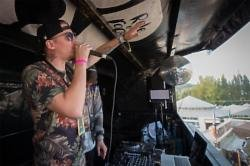 Professor Green surprised Bestival party-goers on Sunday, when then rapper jumped on top of Nando's festival food truck - the Cock o' Van - as Skream'
