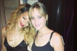 Rihanna with Jennifer Lawrence in Paris