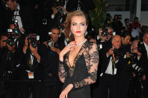 Cara Delevingne Wows at Cannes in Black Lace Dress