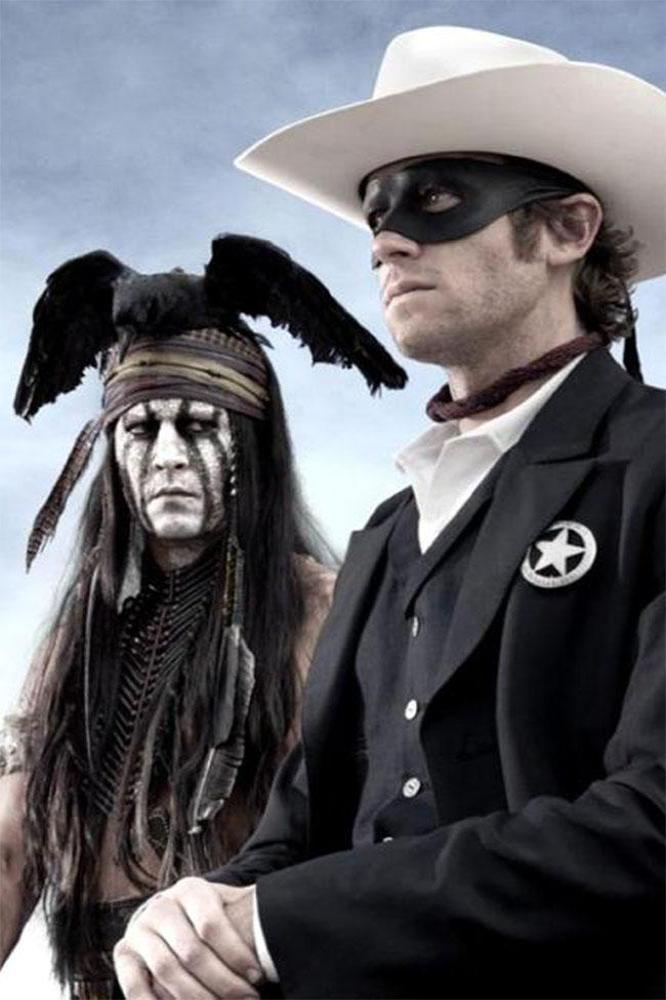 Johnny Depp and Armie Hammer as Tonto and Lone Ranger