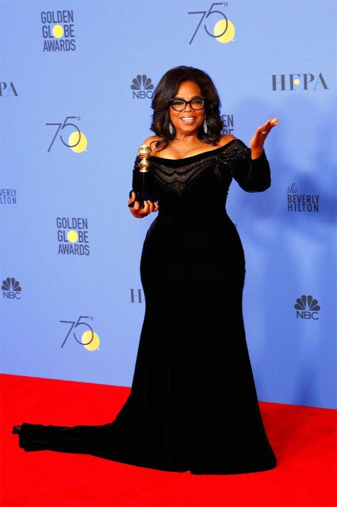 Oprah Winfrey at this year's Golden Globes (2018)