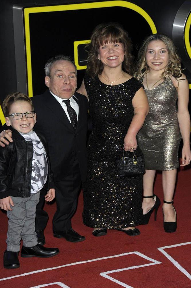 Warwick Davis with family