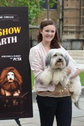 Ashleigh and Pudsey unveil their new PETA campaign