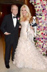 Crystal in her wedding dress with Hugh