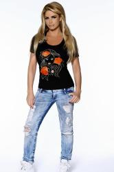 Katie Price wearing the Jeans for Genes T-shirt