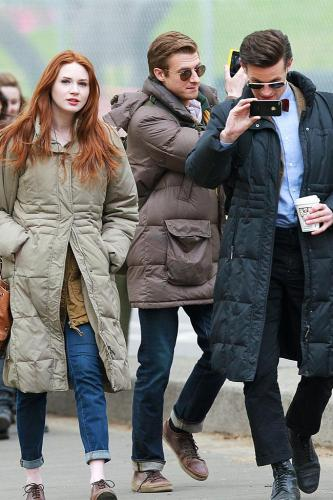 Matt Smith, Karen Gillan and Arthur Darvill filming in New York