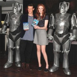 Matt Smith and Karen Gillan flanked by two Cybermen at the HMV store in Oxford Street, London, today (08.11.10).