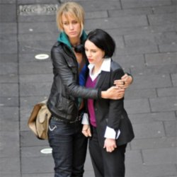 Laura Fraser and Ruta Gedmintas filming Lip Service
