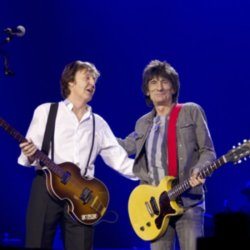 Paul McCartney and Ronnie Wood on stage at The 02