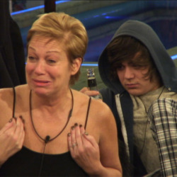 Denise Welch crying following her argument with the twins.