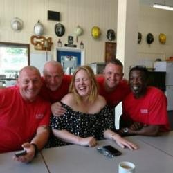 Adele with Chelsea firefighters (c) Facebook