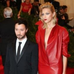Anthony Vaccarello with model Anja Rubik