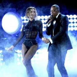 Beyonce and Jay Z performing at the Grammy Awards