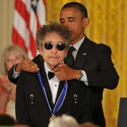 Bob Dylan being awarded the Presidential Medal of Freedom