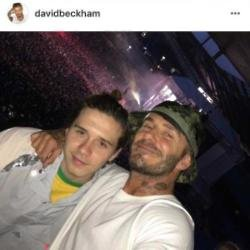 Brooklyn and David Beckham at Stone Roses Instagram (c)