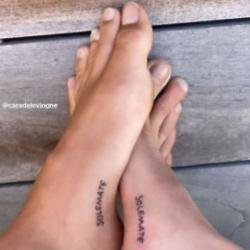 Cara Delevingne and Kaia Gerber's feet tattoos (c) Instagram