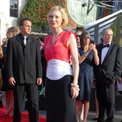 Cate Blanchett looks beautiful in the red, white and black gown