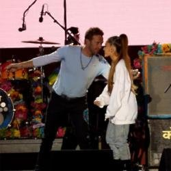 Chris Martin and Ariana Grande at One Love Manchester