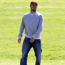 David Beckham watches his sons play football